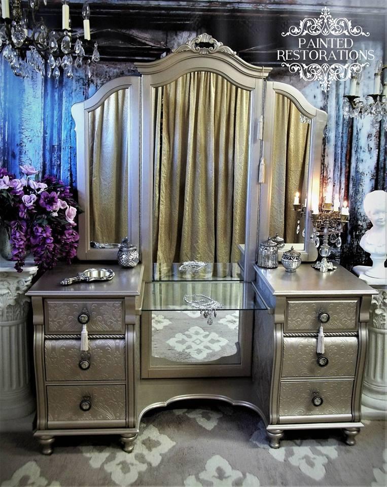 restored vintage vanity table