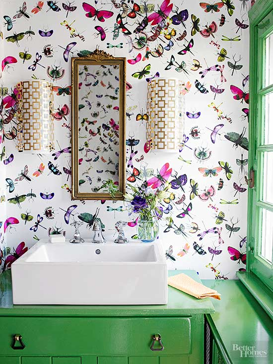 funky bathroom wallpaper ideas tiny but chic 3 easy ideas for small bathrooms 17807