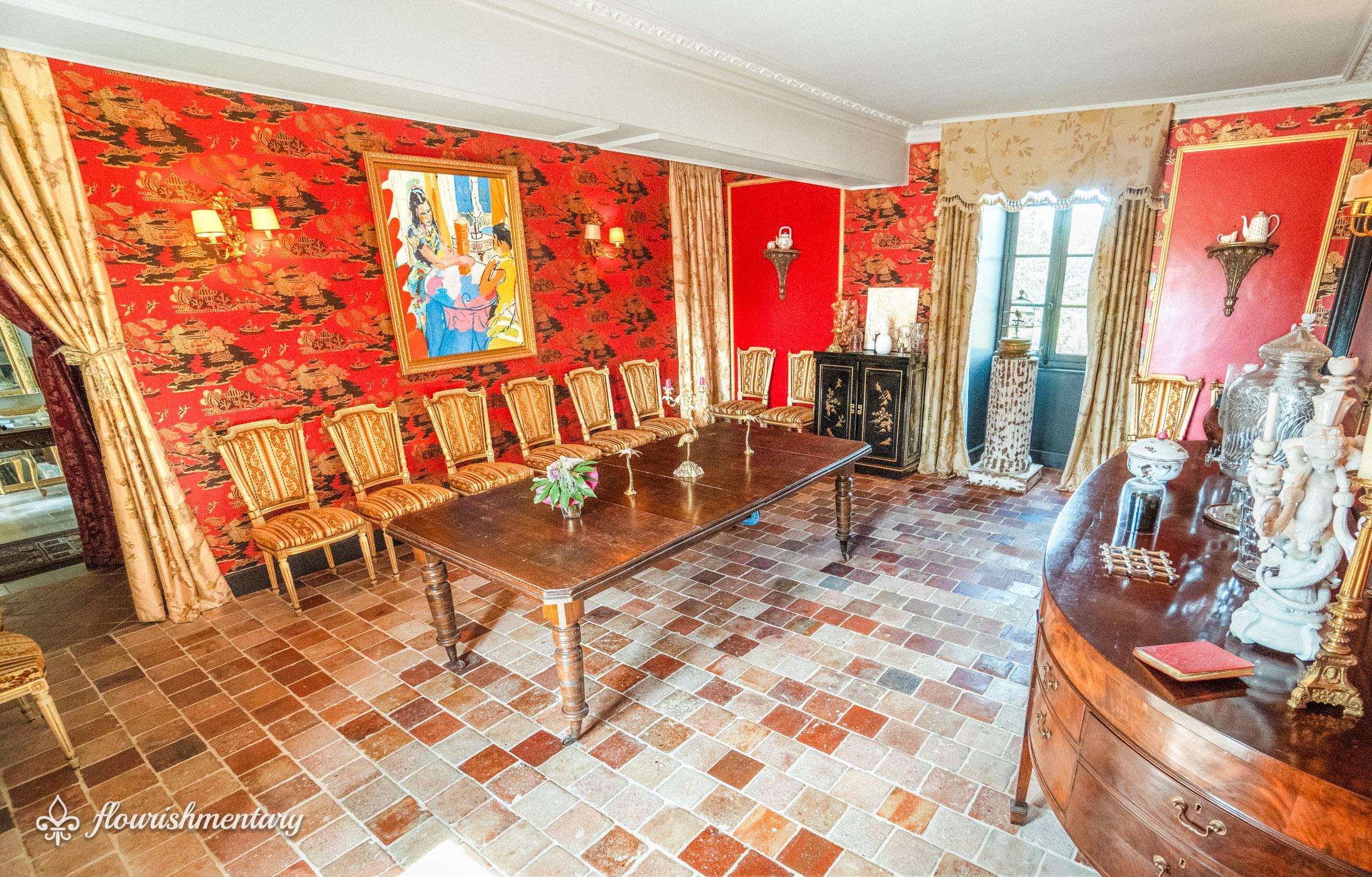 vintage terra cotta tiles in dining room chateau de lalande