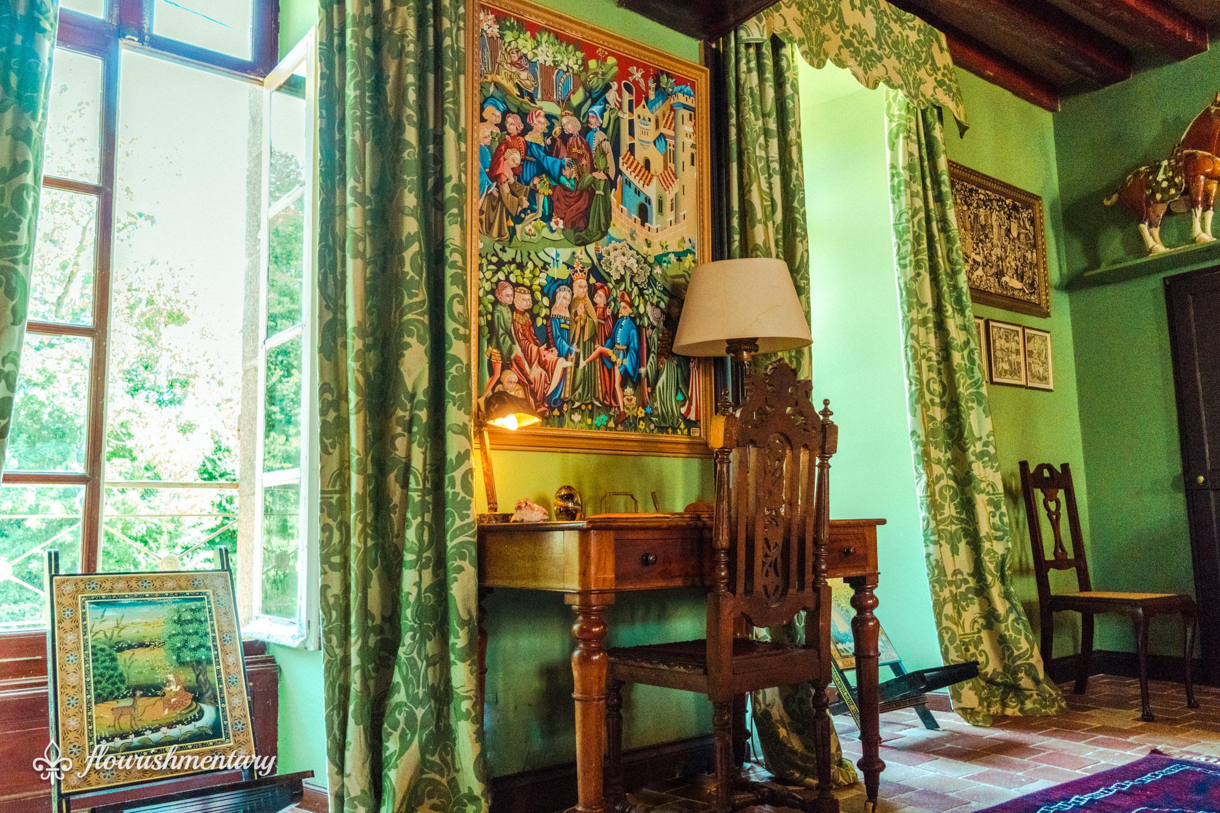 winter salon green room chateau de lalande