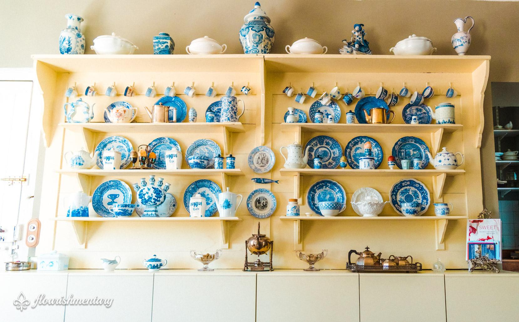 blue and white pottery Restored cabinets with English pottery from Stoke-on-Trent.