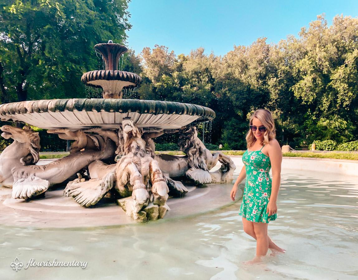 Villa Borghese gardens Fontana dei Cavalli Marini