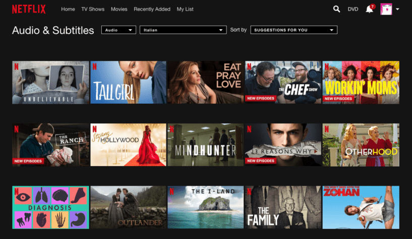 browse for Netflix titles to watch in Italian