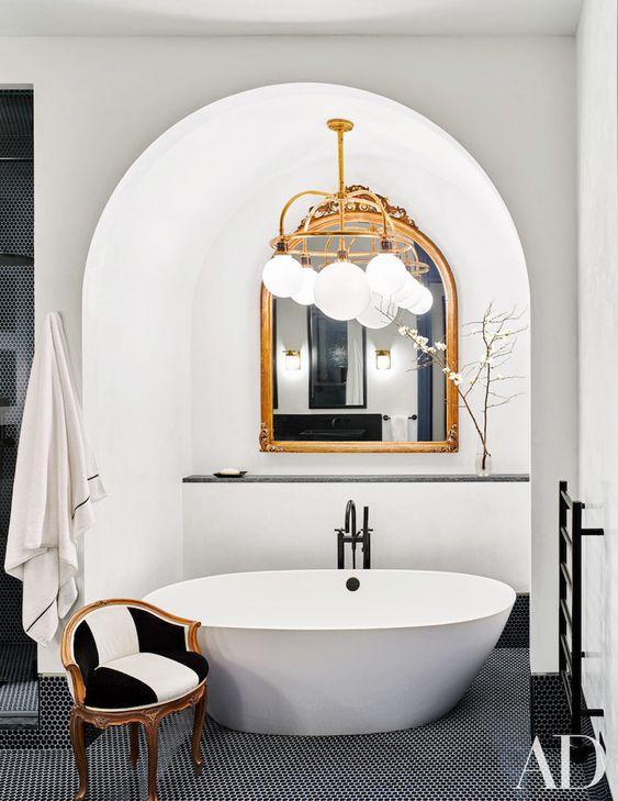 gold mirror bathroom