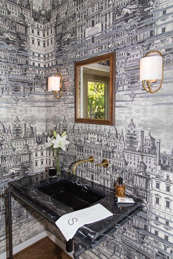 bathroom wall decor wallpaper ideas