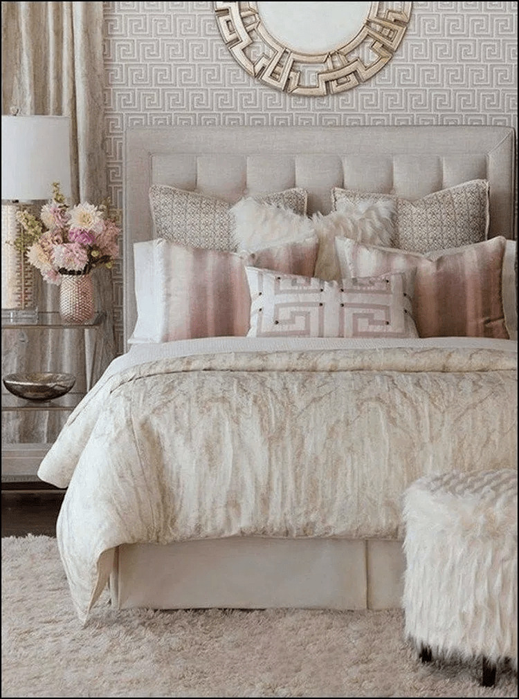 romantic bedroom faux fur pillow
