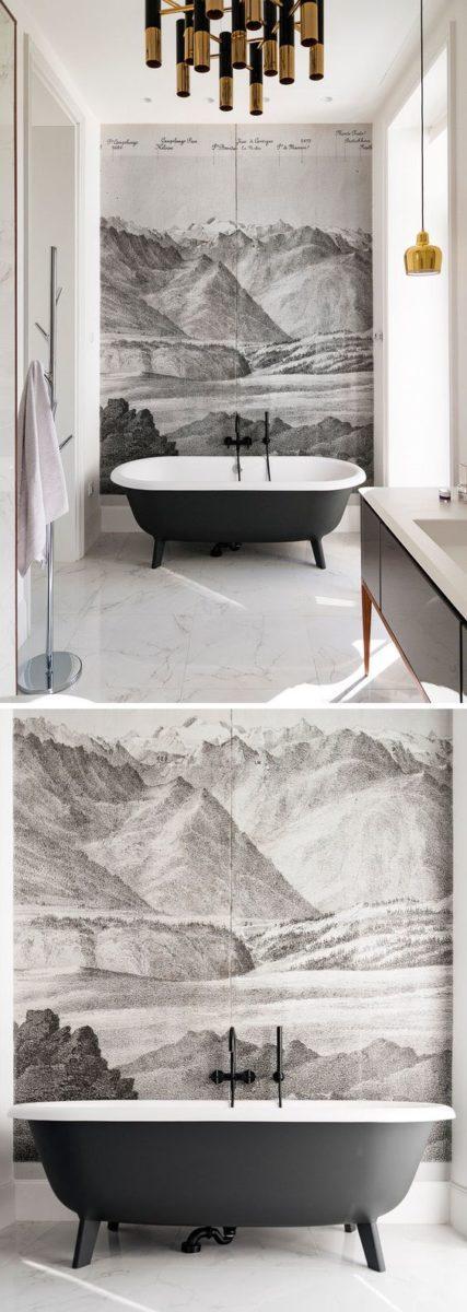 bathroom wall decor wallpaper
