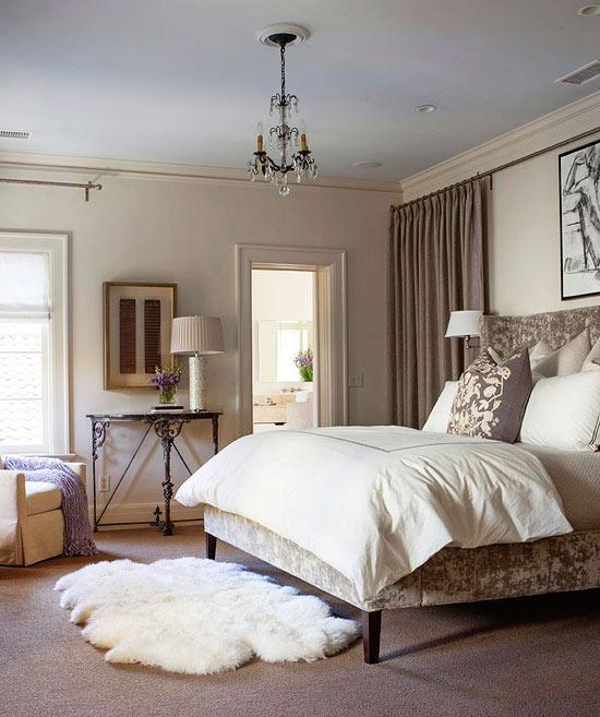 romantic bedroom faux fur rug