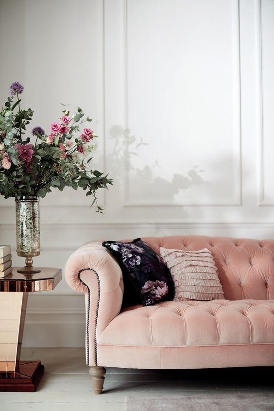 traditional pink couch