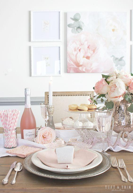 soft pink pastel table valentine's day decor
