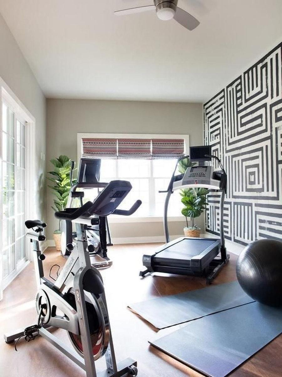 home gym feature wall