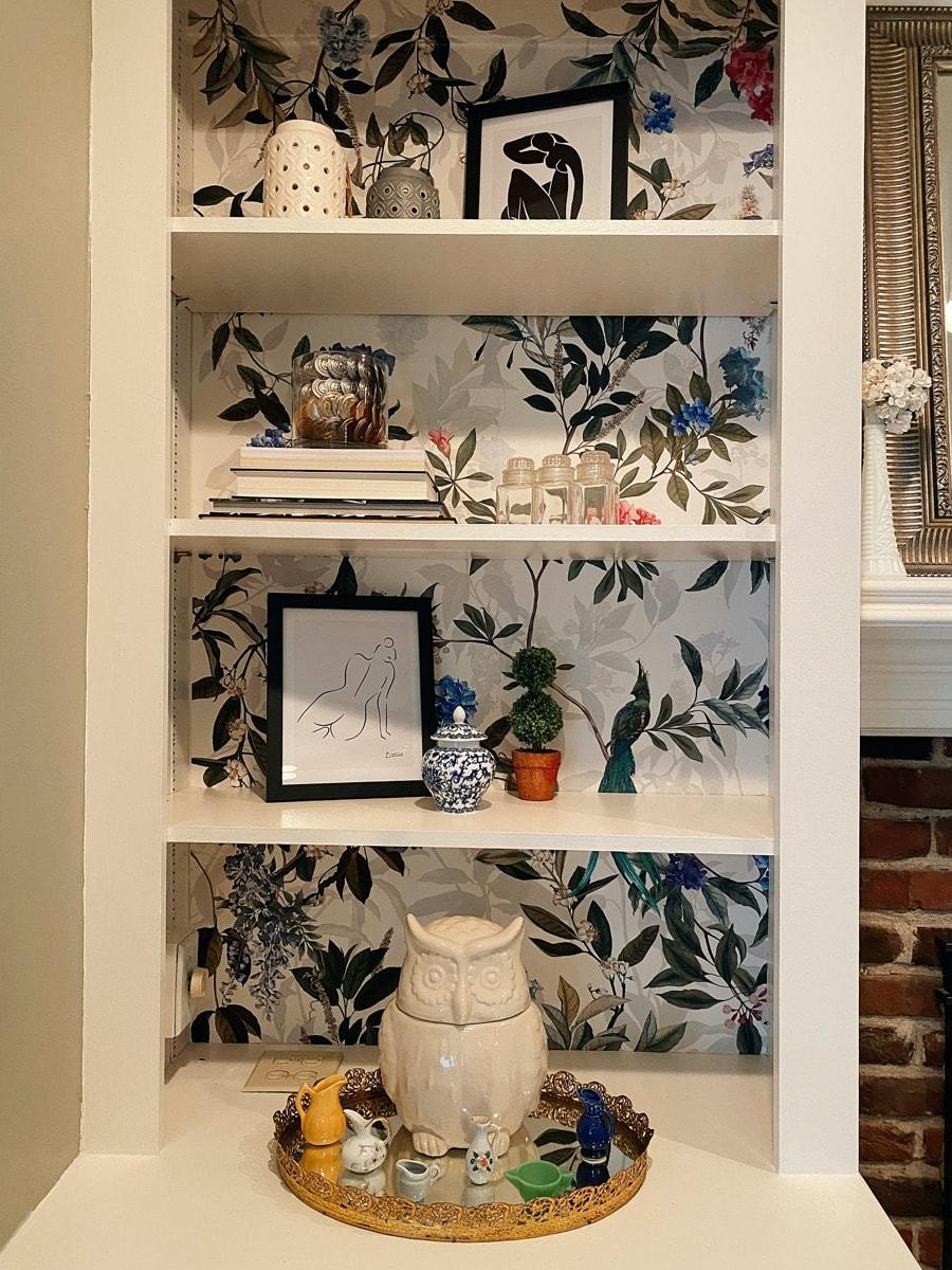 Wallpaper on bookcase