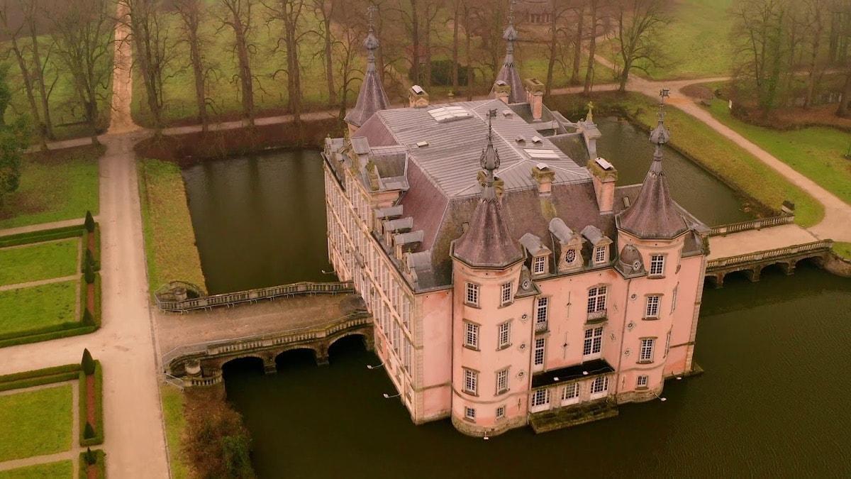 pink Castle Of Poeke, Belgium